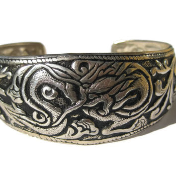 Vintage Silvertone Asian Dragon Cuff Bracelet