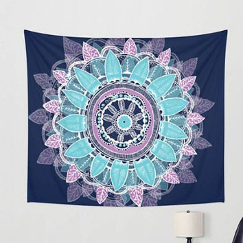 Blue and Purple Feather Tapestry
