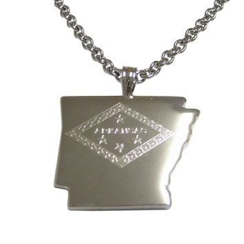 Arkansas State Map Shape and Flag Design Pendant Necklace