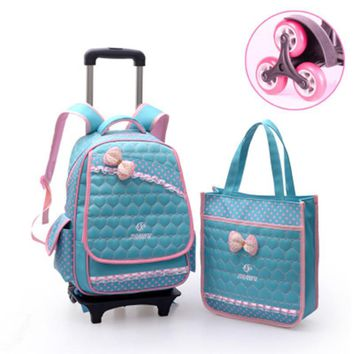 Waterproof nylon 6 wheels trolley bag Removable schoolbag children grades 3-6 girls BAGS backpack shoulder burdens book bags