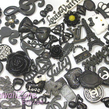 Kawaii decoden resin cabochon Deco kit / DIY cell phone case decoden cabochon kit random assorted Black / embellshment
