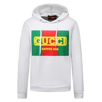 GUCCI autumn and winter models men's cotton jersey print sweater white