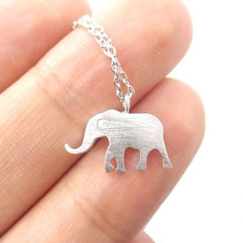 Classic Elephant Shaped Silhouette Pendant Necklace in Silver | Animal Jewelry