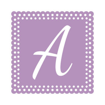 Personalized Initial Wall Decal - Monogram Wall Decal Square Polka Dots Border for Boy Girl Baby Nursery Teen Room Wall Art 22H x 22W CN003