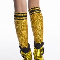 GOLD AND BLACK BASKETBALL HAND-SEQUINNED SOCKS