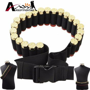 Tactical 25 Shotgun Shell Bandolier Belt 12 Gauge Ammo Holder 140*5CM Outdoor Airsoft Hunting Shotgun Cartridge Belt@