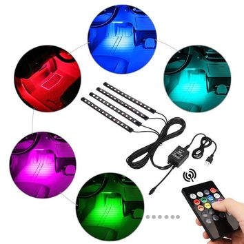 Car LED Strip Lights,Huitomo 4pcs 48 LED Multicolor Music Car Interior Light LED Under Dash Lighting Waterproof Kit with Sound Active Function and Wireless Remote Control,Dual USB Car Charger Included