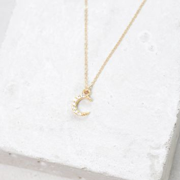 Mini Crescent Charm Necklace - Gold