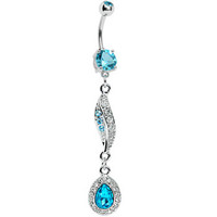 Aqua Gem Jeweled Drop Belly Ring | Body Candy Body Jewelry