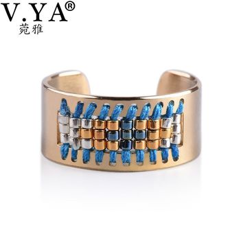 V.YA Stainless Stee Ring Women's Friendship Seed Bead Jewelry Boho Weaving Rings Best Bohemia Style Accessory
