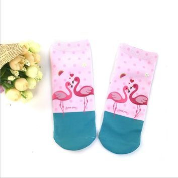 Men Women Flamingo 1 Pair Low-Cut Liners Socks Ankle Casual Style New Fashion
