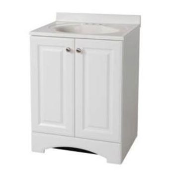 Glacier Bay 24-1/2 in. W Vanity in White with Vanity Top in White and White Basin GB24P2COM-WH at The Home Depot - Mobile