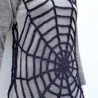 Goth Clothing Women's Spiderweb Tunic Black Crochet Mesh Fishnet Sexy Dress Charlotte's web Costume