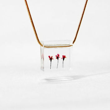 Real Flower Jewellry, Necklace, Resin, Ice Box, Freeze, Flower Necklace, Little Red Flower,