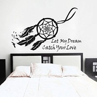 GECKOO Dream Catcher Wall Decal Native American Feathers Bedroom Wall Sticker (Small, Black)