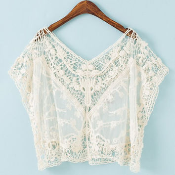 White Floral Lace-Crochet Crop Top
