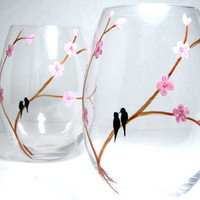 Painted Wine Glasses- Birds on Cherry Blossom Branch, Set of 2