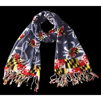Maryland Crab Pattern (Grey) / Scarf