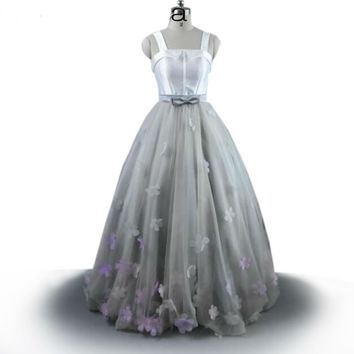 White Prom Dress  Arabic Evening Gowns Spaghetti Straps Flowers Formal Dresses Tulle A-Line Long Evening Dresses