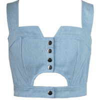 Blue Denim Bottons Up Cut-Out Bustier Crop Top