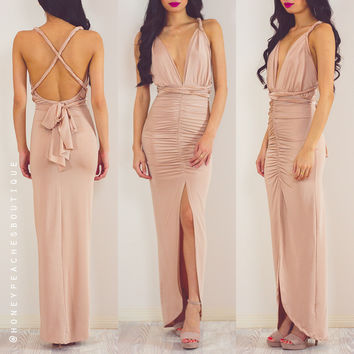I Just Want You Close Multi Way Dress - Champagne
