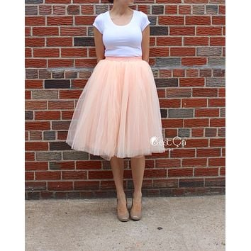 Claire Soft Blush Peach Tulle Skirt - Below Knee Midi