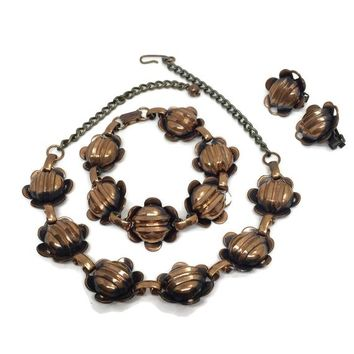 Copper Jewelry, Necklace, Bracelet and Earrings, Matching Copper Flower Jewelry Set, Vintage Bohemian Boho Chic, Mothers Day Gift for Her