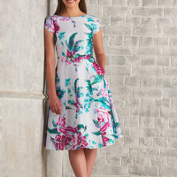 Floral print belted dupioni dress