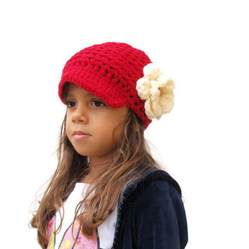 Girls Hat, Child Hat, Crochet Hat, newsboy hat, newsgirl hat, kids hat, Red hat with flower, Brim hat