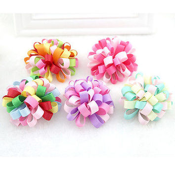 Funny Colorful Loopy Puffs Hairpins Fireworks Hair Clip for Kids Random Color 3C