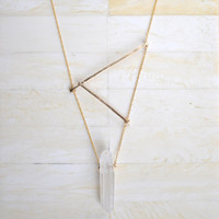 Hammered Bar Necklace Gold Geometric Necklace Gold Bar Necklace Asymmetrical Necklace Quartz Necklace Quartz Point Necklace Organic Necklace