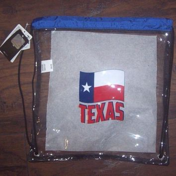 NWT NFL approved Clear Back Sack Draw String Bag Backpack Back Pack TEXAS