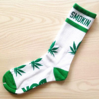 Custom Marijuana Weed Cannabis Unisex Adult Cotton Crew Socks Green and White Colors PREORDER Gift Idea