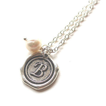 Silver and south sea pearl monogram alphabet personalized initial letter B charm necklace