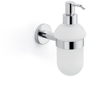 Lux Atlanta Wall Mounted Frosted Glass Pump Soap Lotion Dispenser Bath, Brass
