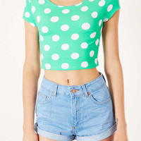 Spot Bardot Crop Top - Jersey Tops - Clothing - Topshop USA