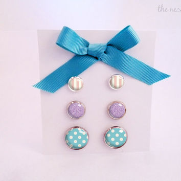 Stud earrings set, sweet cabochon jewelry, three sizes, by The Neverland
