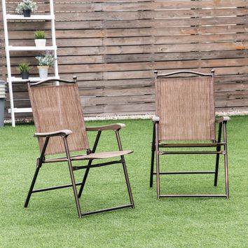 Giantex Set of 2 Patio Folding Sling Back Chairs Camping Deck Garden Beach Outdoor Furniture