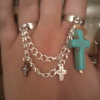 Bohemian Silver Chain Ring with Multi Colored Crosses
