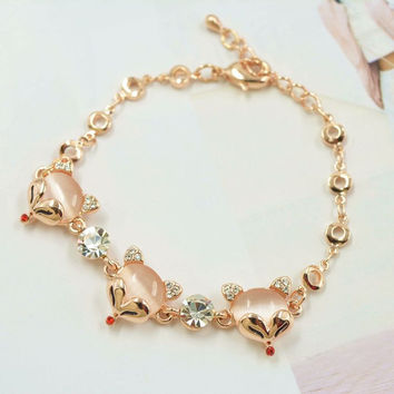 Hot Sale Great Deal Gift Stylish New Arrival Awesome Shiny Luxury Korean Cats Rhinestone Ladies Bangle Accessory Bracelet [10417739540]
