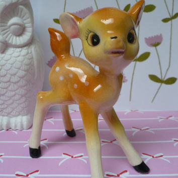 Absolutely adorable, retro, kitsch porcelain Bambi!!! Cute vintage fawn figurine! Baby deer!