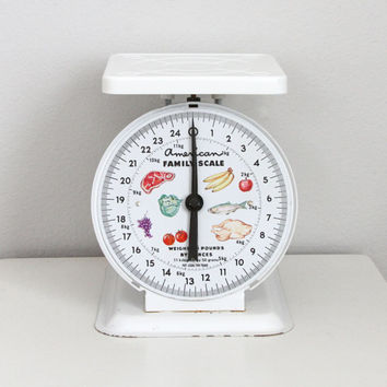 Vintage 70s Retro American Kitchen 25 lbs Scale | Housewarming Gift | Metal, Tare Adjustment Knob | 1970s Tested & Functional
