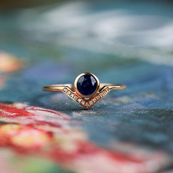 Sapphire engagement ring rose gold Diamond cluster ring Unique Flower Dainty Wedding women Floral Bridal Promise Anniversary gift for her