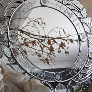 floral etch round venetian mirror by figa & co. ltd | notonthehighstreet.com