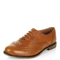Tan Leather Embossed Brogues