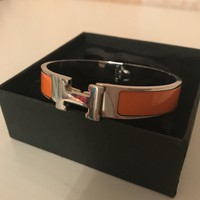 Hermes Paris Silver Orange Clic Clac Enamel Bracelet H Bangle
