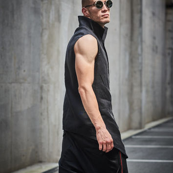 Button down mens shirt Sleeveless black shirt Linen shirt Futuristic clothing Black vest Black urban clothing Mens modern black top by Powha