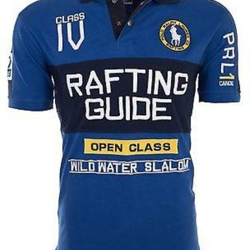 Licensed Official POLO RALPH LAUREN Mens Custom Fit EMBROIDERED Blue POLO SHIRT Rafting Guide $145