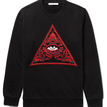 Givenchy - Cuban-Fit Embroidered Fleece-Back Cotton-Jersey Sweatshirt