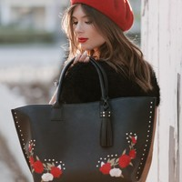 Jami - Embroidered Convertible Tote